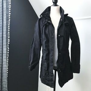 Eddie Bauer Lightweight Hooded Trenchcoat XS Black